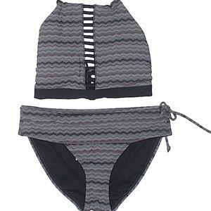 Athleta grey jacquard swimsuit size M
